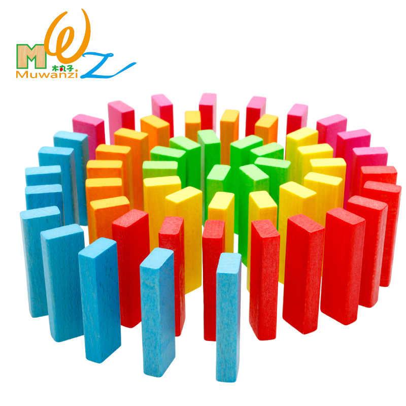 54 sztuk drewna Domino rainbow wysokie stosy gry stołowe drewniane zestaw zabawek dla dzieci, klasyczne wczesne dzieciństwo drewniane edukacyjne klocki