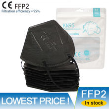 Lowst Price! CE FFP2 Black Mask 5 Layers Facial Face Mask Dust Respirator Mouth Protect KN95 Mascarillas Reusable FFP3 FPP2