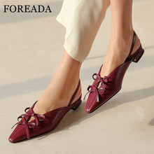 FOREADA Natural Genuine Leather Low Heels Bow Woman Slingbacks Pumps Square Heel Shoes Pointed Toe Female Footwear Black Size 40 foreada woman high heels natural genuine leather slingbacks shoes buckle stiletto heel footwear pointed toe lady pumps beige 40