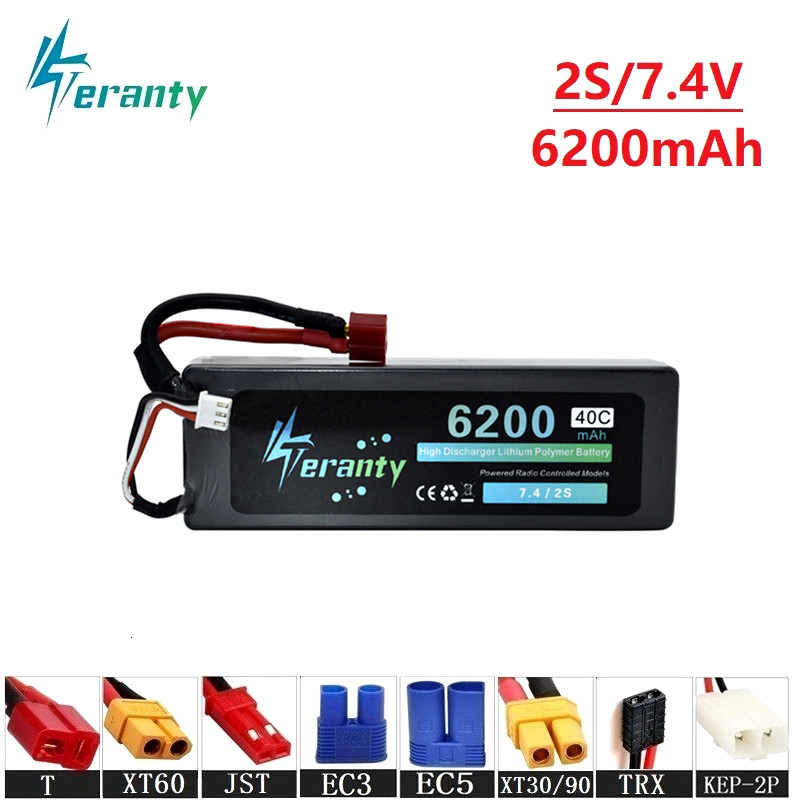 Upgrade 7.4v 6200maH 40C Lipo Batterry For RC Quodcopter Cars Boats Drone Spare Parts 2s 5200mah 7.4v Rechargeable Batteries