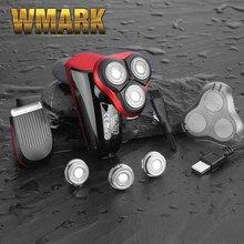 Wmark электробритва лысая головка полировальная машинка для стрижки волос женская машинка для удаления волос перезаряжаемая бритва с USB 3 лезвия бритвы моющиеся