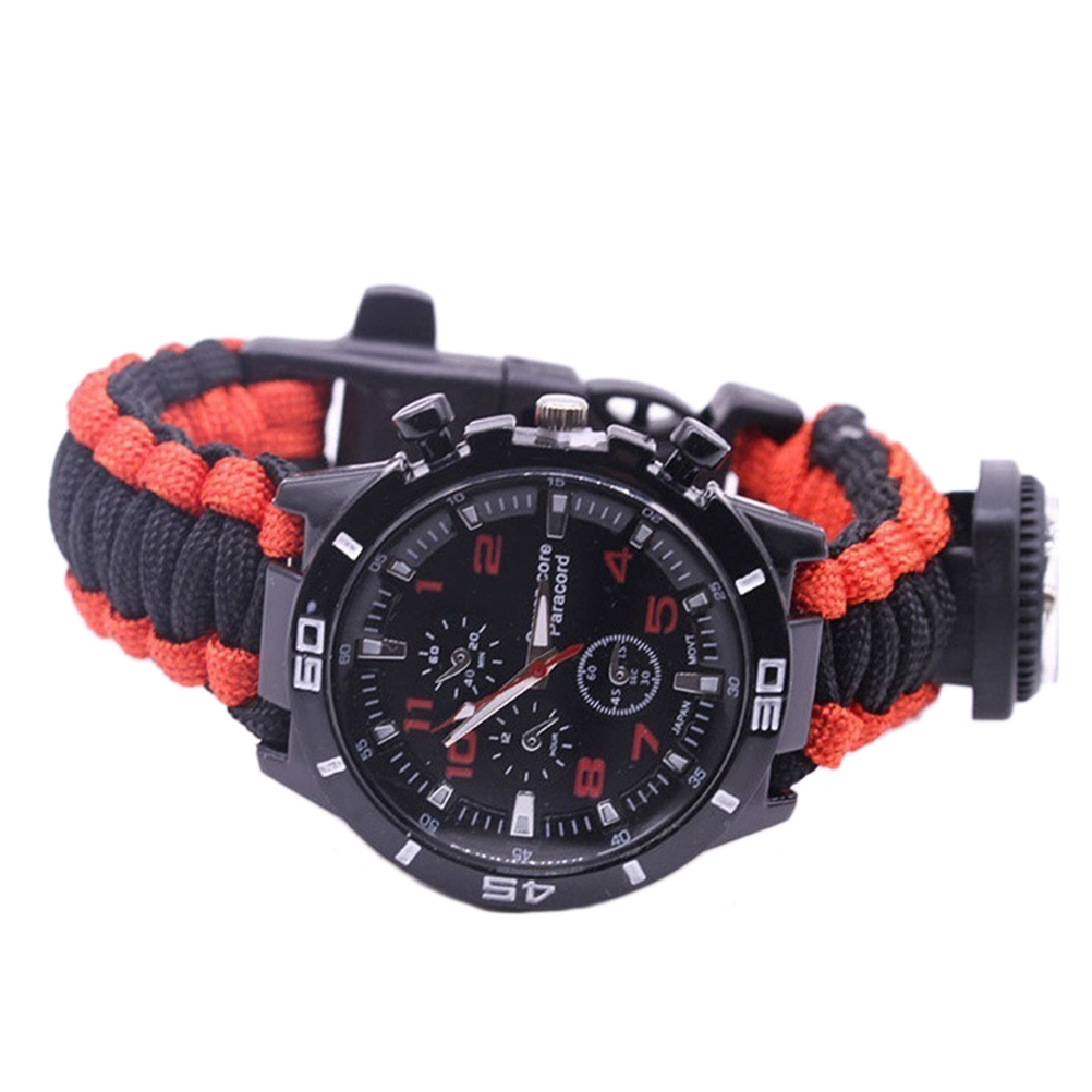 Outdoor Multi-functional Wristwatch Bracelet Whistle Compass Fashion Survival Camping Rescue Rope Braided Bracelets Bracelet
