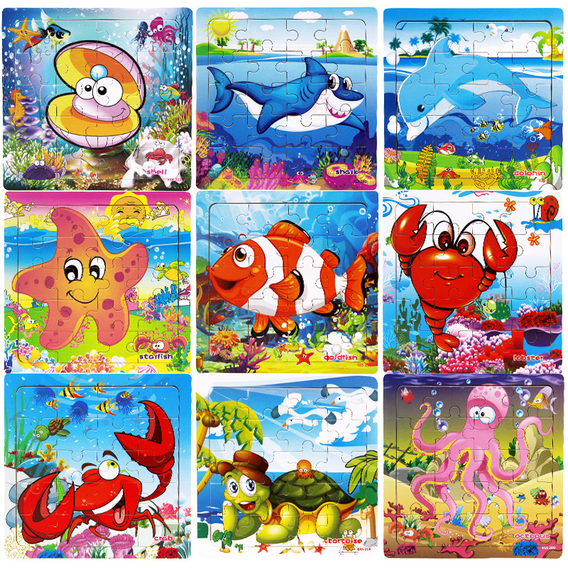 Hot Sale 12 Slice Kids Toy Wood Puzzle Baby Cartoon Aquatic Creatures Mermaid Puzzles Educational Learn Toys For Children Gift