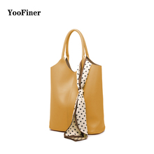 YooFiner New trend fashion luxury leather handbags for women classic tote bags composite bag with Mini pocket Bright four colors