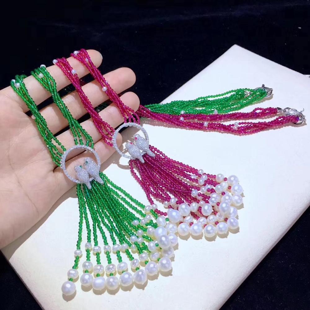 Натуральный Жемчуг пресной воды кулон ожерелье 50 см 925 серебро с кубическим Цирконом птицы полудрагоценный камень зеленый красный цвет