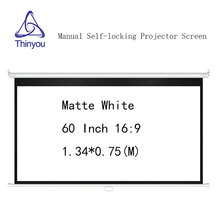 Thinyou 60 inch 16:9 Matte White Self-locking Projector screen Manual Pull Down for HD projector Movie Screen