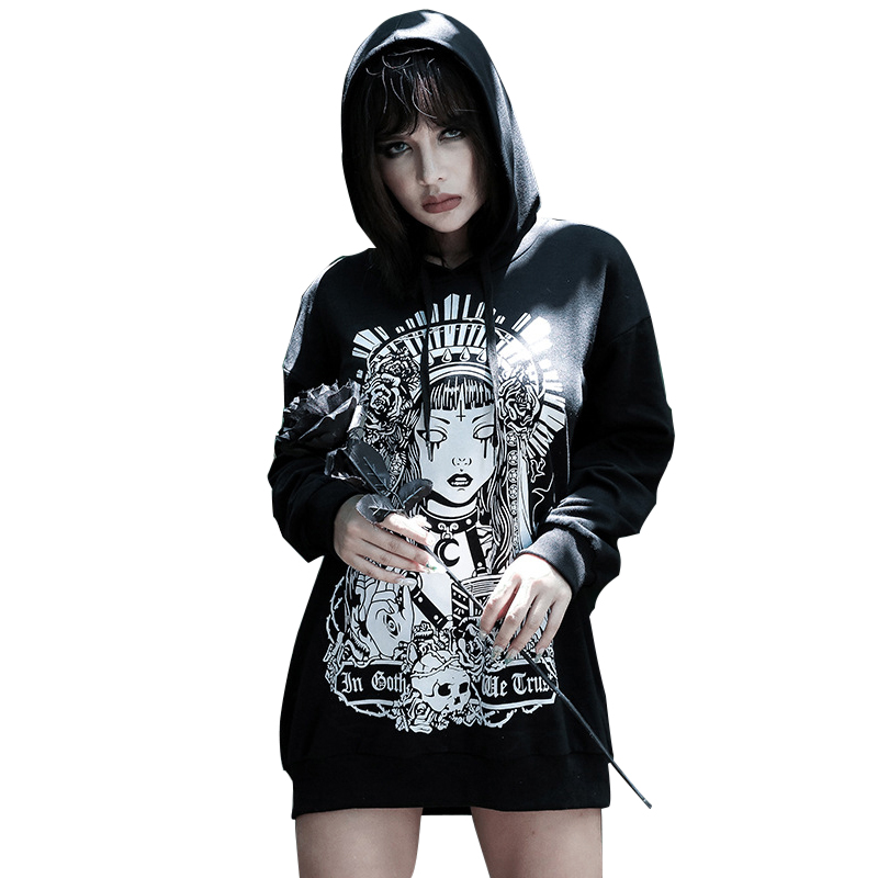 Goth Dark Black Print Aesthetic Grunge Gothic Female Sweatshirt Harajuku Loose Autumn 2019 Witch Hoodies For Women Punk Fashion