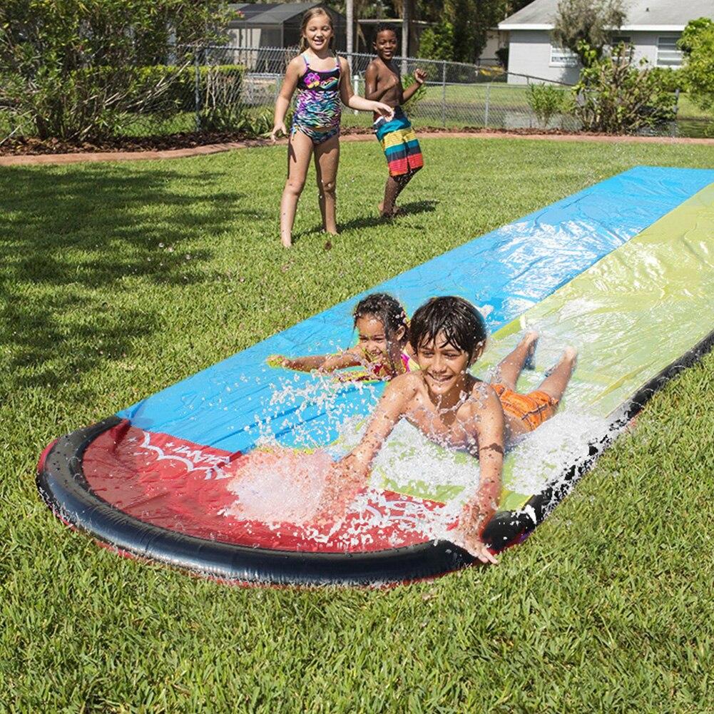 Surfboard Dual Racing Lanes Kids Toy Funny Sprinker Summer Party Outdoor Garden Splash Pool Park Backyard PVC Water Slide