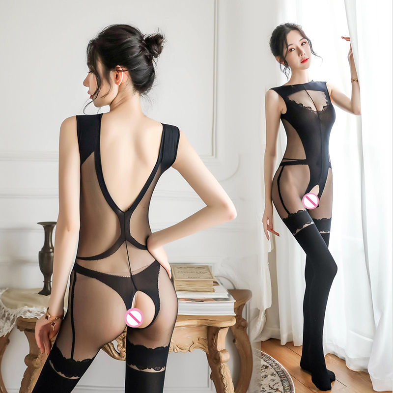 Women Sexy Lingerie Mesh Lace Sexy Open Crotch Jumpsuit Erotic Lingerie Women Hollow Pantyhose Stockings Body Stockings Jumpsuit