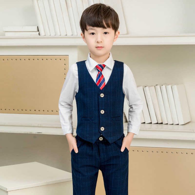 2019 нарядный вечерний блейзер с цветочным принтом для мальчиков; комплект одежды; детская куртка; жилет; брюки; 3 предмета; костюм-смокинг для свадьбы; Детский костюм на день рождения