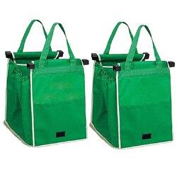 Большой зажим для тележки, продуктовые сумки, супермаркеты, простая в использовании тележка, зеленая ткань, складная сумка для корзины