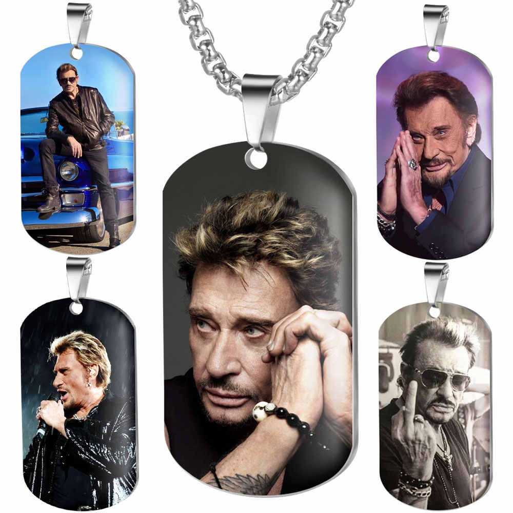 Rock French Star Croix Johnny Hallyday Charm Pendant Necklace Color Photo Necklaces for Women/Men Jewelry Bijoux Gift