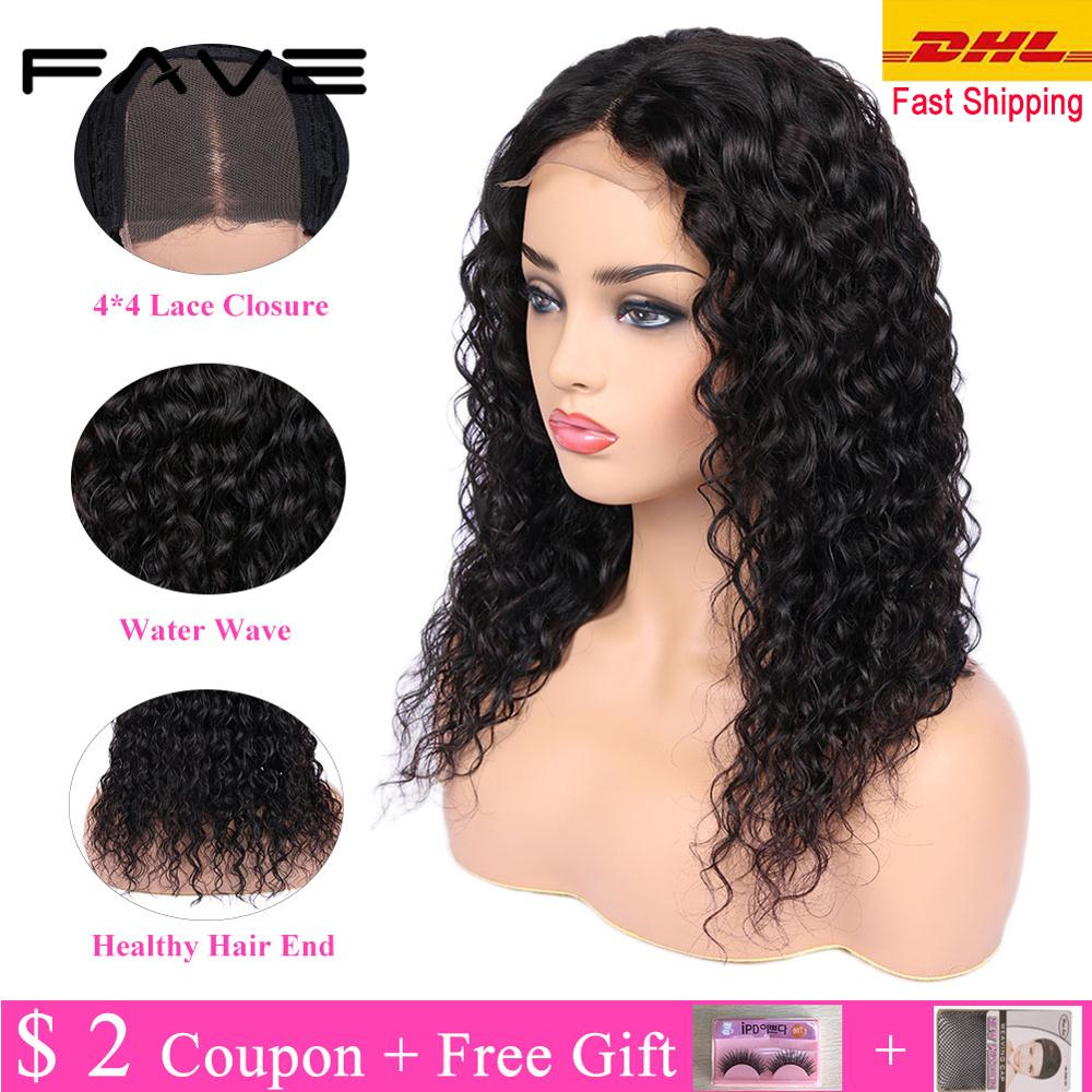 Water Wave 4*4 Lace Closure Human Hair Wigs L/M/R Part Glueless Brazilian Remy Wigs With 150% Density For Black Women FAVE Hair
