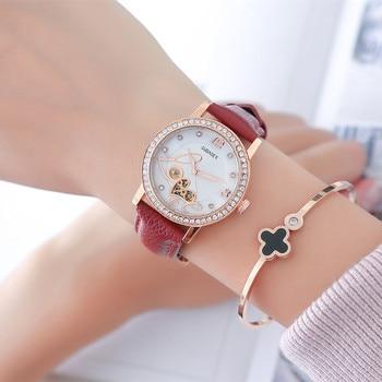 relogio feminino OUBAOER Automatic Mechanical Watch Women Fashion Rhinestone hollow design Watch Leather Strap Waterproof Clock 6