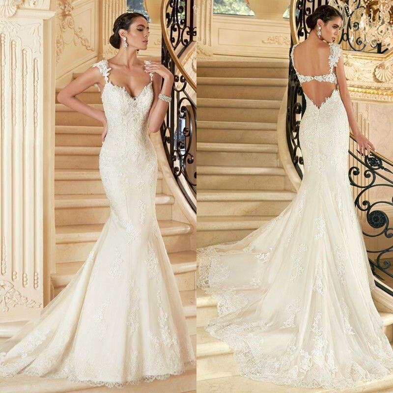 Custom Made Vestido De Novia 2018 Applique Backless Lace Mermaid Vestidos De Casamento Bridal Gown Mother Of The Bride Dresses