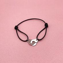 Новый Модный золотой черный веревку браслеты с брелоками для