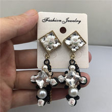 Bohemian Beads Earrings Beads Crystal Earrings Square Zircon Earring Flower Pearl Cross Tassel Eardrop(China)