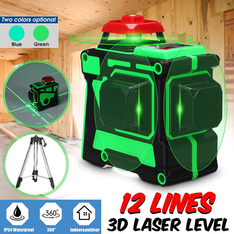 12 Line Green Laser Level Tripod Bracket 3D 360 Rotary Self Leveling Horizontal Vertical Cross Super Powerful Laser Beam Line