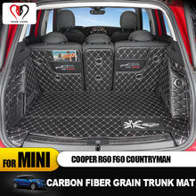 Carbon Fiber Grain Luminous Cargo Liner Leather Trunk Mat Pad Sticker for Mini Cooper R60 R 60 F60 F Countryman Accessories