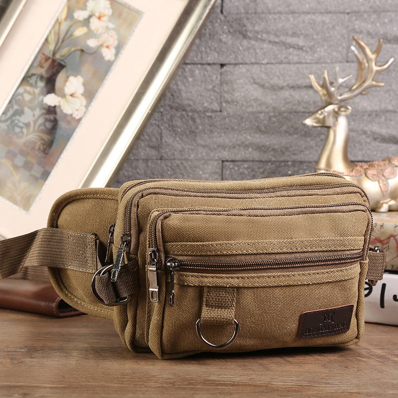 Casual Canvas Waist Pack Men's Apron Outdoor Casual Cash Storage Bag Multi-functional Phone Coin Purse Business