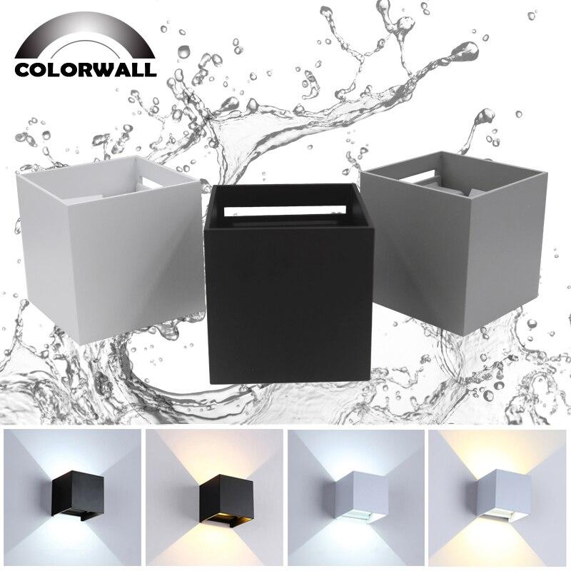 12W lampe de jardin LED LED étanche Wandlamp IP65 éclairage lumineux réglable AC85-265V intérieur et extérieur décoration murale