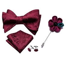 Barry.Wang Men Bowtie Red Self-tied Bows Paisley Burgundy Si