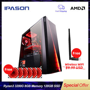 IPASON CHEAP Gaming PC Quad-Core AMD Ryzen3 2200G/3200G/DDR4 8G RAM/120G SSD/1T+240G SSD Desktop Gaming Computers