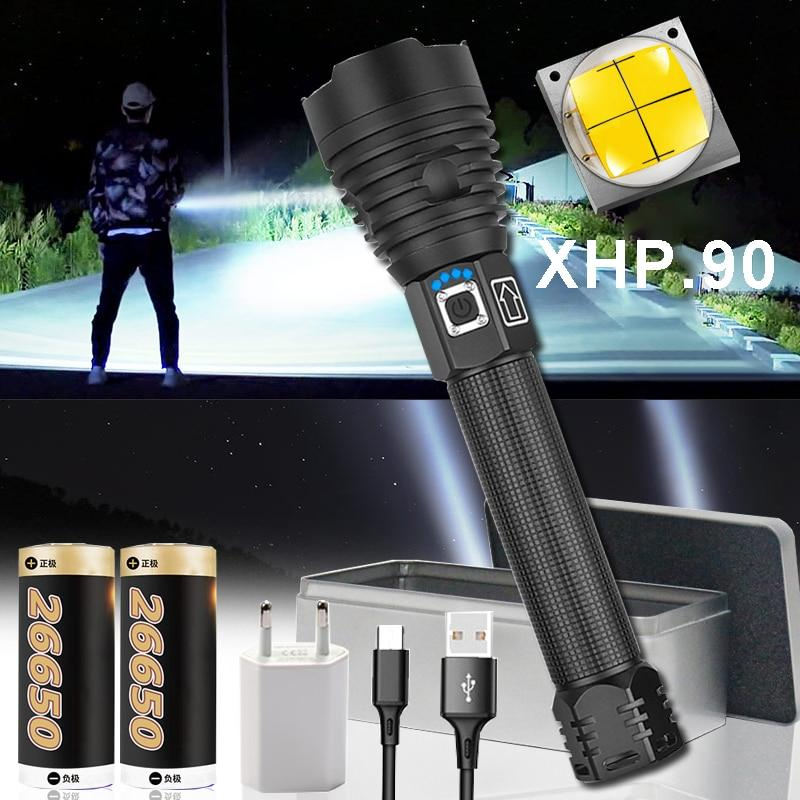 Led Flashlight Torch Hand-Lamp Most-Powerful Xhp90.2 Rechargeable Xhp70 Tactical 26650