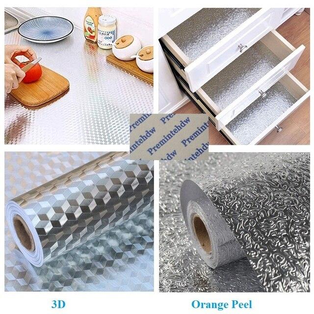 0.4*10Meter Kitchen Back Splash Stickers Self Adhesive Aluminum Foil Oil Water Proof Drawer Bottom Sink Cabinet Countertop