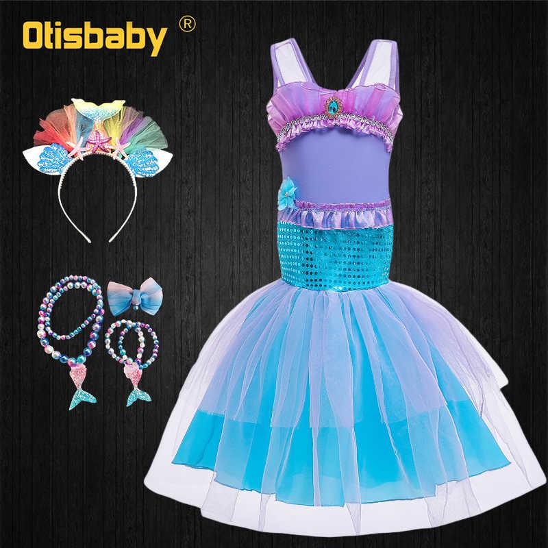 Disfraz De Halloween Para Niñas De Lujo Princesa Ariel Vestido De Navidad Sirenita Niños Floral Lentejuelas Arco Iris Tul Volantes Vestido