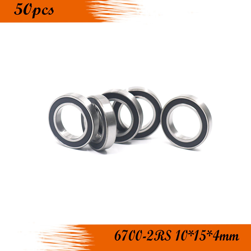 50pcs free shipping deep groove ball bearing 61700 2RS <font><b>6700RS</b></font> 6700-2RS 10*15*4 mm image