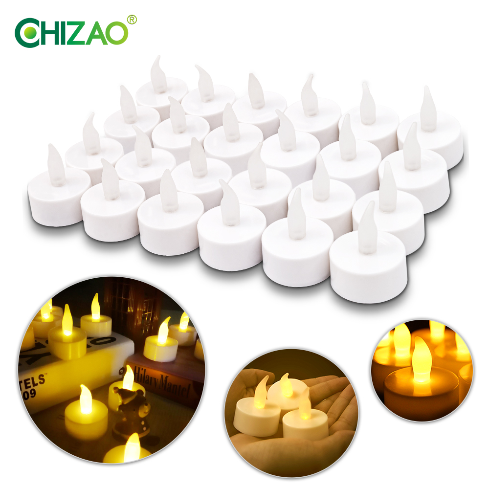 CHIZAO LED Tealight Tea Candles Flameless Light Colorful Yellow Battery Operated Wedding Birthday Party Christmas Decoration