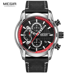 Image 2 - MEGIR männer Armee Sport Uhren Leder Wasserdichte Armbanduhr Mann Chronograph Analog Uhr Mann Leuchtende Relogio Masculino 2104