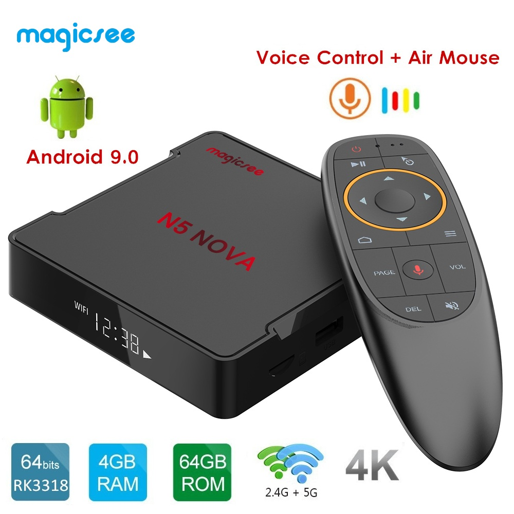 MAGICSEE N5 NOVA Android 9.0 TV BOX RK3318 4GB RAM 64GB ROM 2.4GHz + 5GHz WiFi commande vocale décodeur intelligent 4K Bluetooth USB3.0