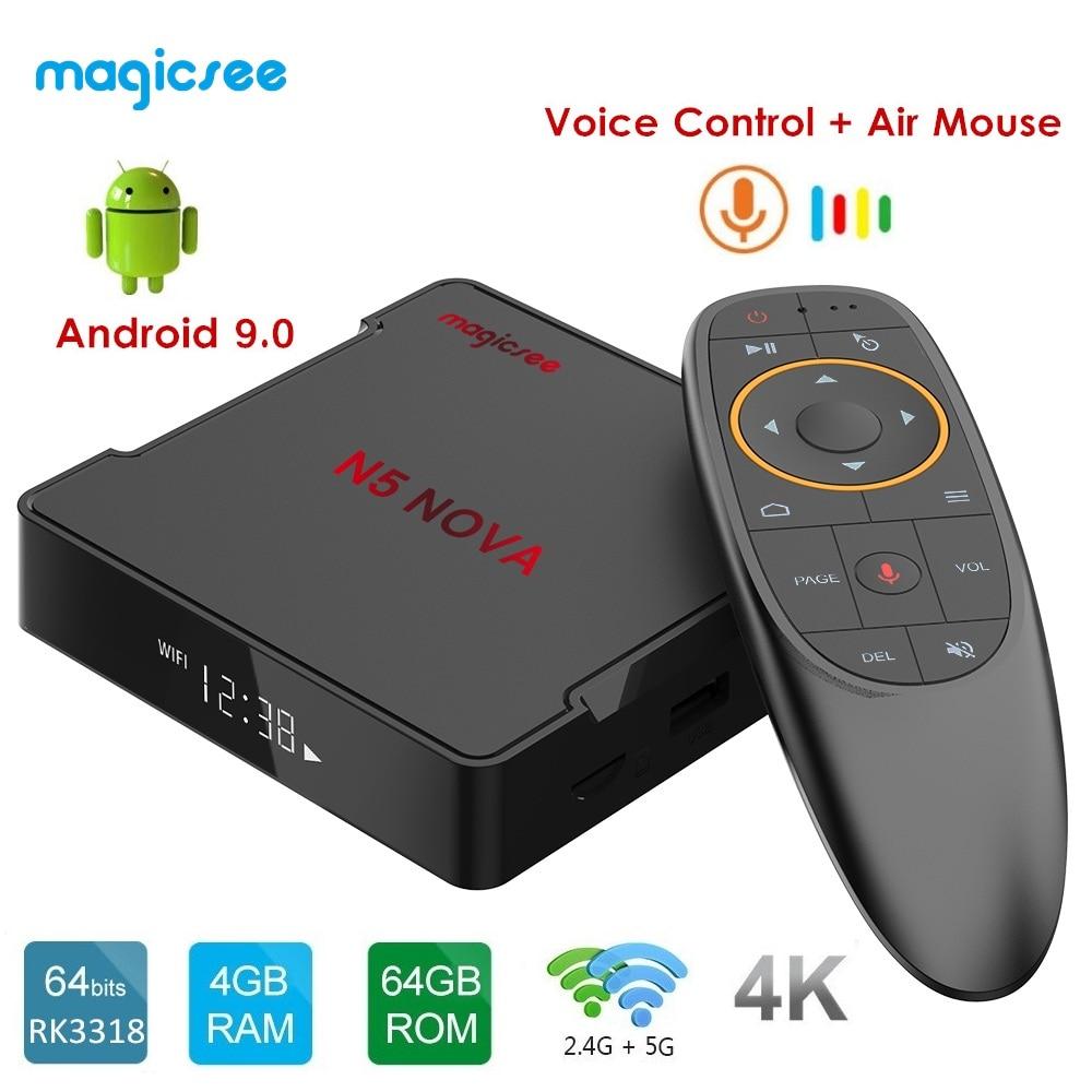 MAGICSEE N5 NOVA Android 9.0 TV BOX RK3318 4GB RAM 64GB ROM 2.4GHz+5GHz WiFi Voice Control Smart Set Top Box 4K Bluetooth USB3.0