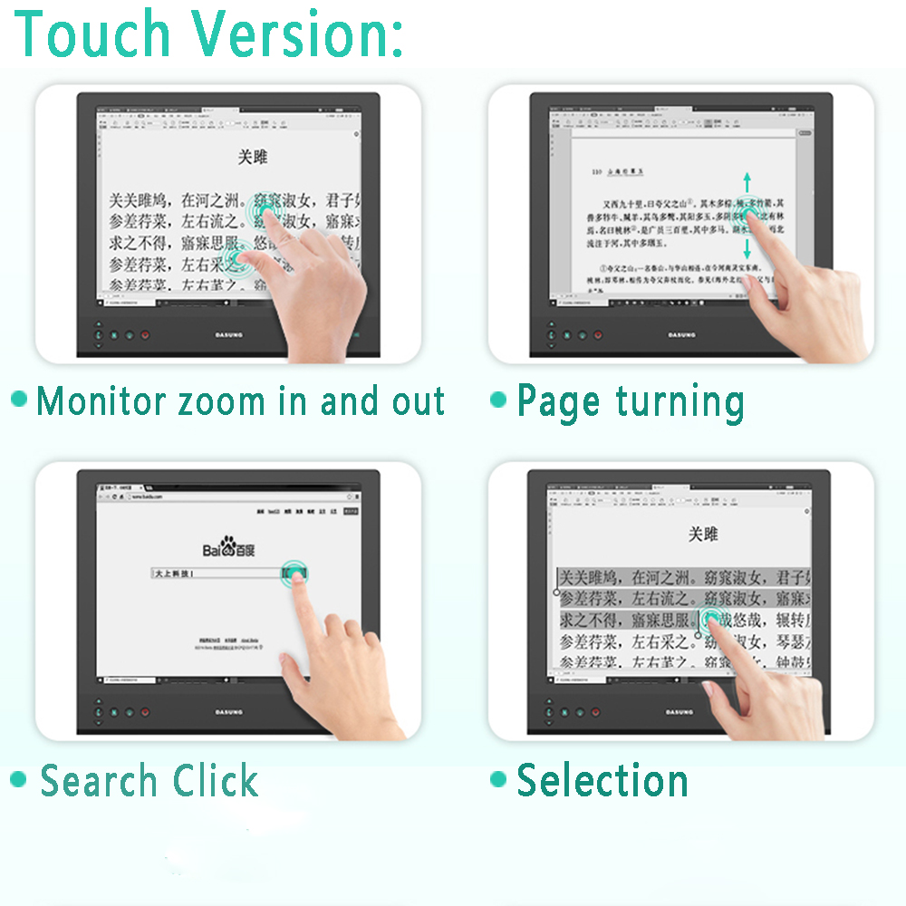 Image 3 - 13.3 Inch 2200x1650 2K E Ink Touch Monitor Paperlike Ebook Screen Flicler Free Display Eyes Care Edit Codes Online Course DASUNGLED Displays   -