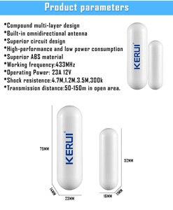 Image 5 - KERUI 2 шт. 433 МГц портативный датчик сигнализации для умного дома, s детекторы, беспроводной магнитный датчик двери для окон, датчик для системы сигнализации Kerui