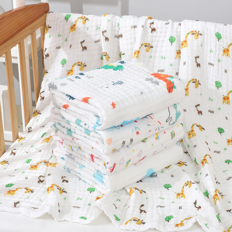 Baby Muslin Swaddle Blankets Swaddling 100% Cotton Swaddle Wrap For Newborn Baby 6 Layer Bath Towel Blanket Baby Bedding Muslin