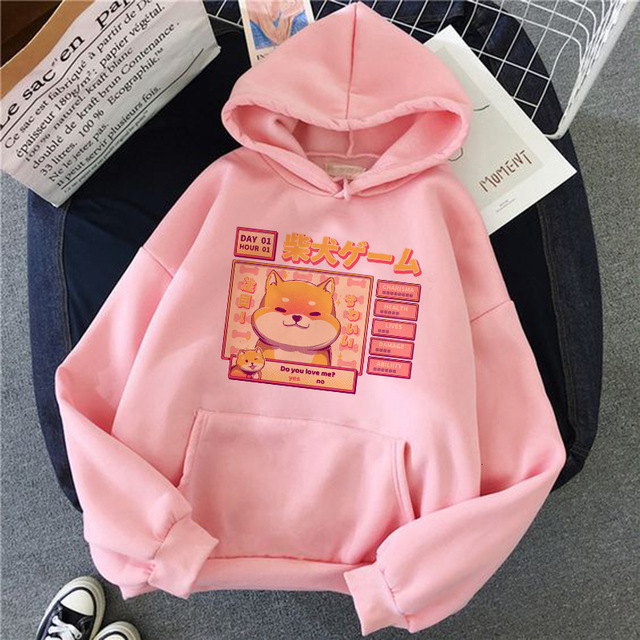 Shiba Inu Hoodie Harajuku Funny Hoodies Women Ullzang Cute Korean Style Autumn Winter Kawaii Sweatshirt 90s Hoody Female Girls