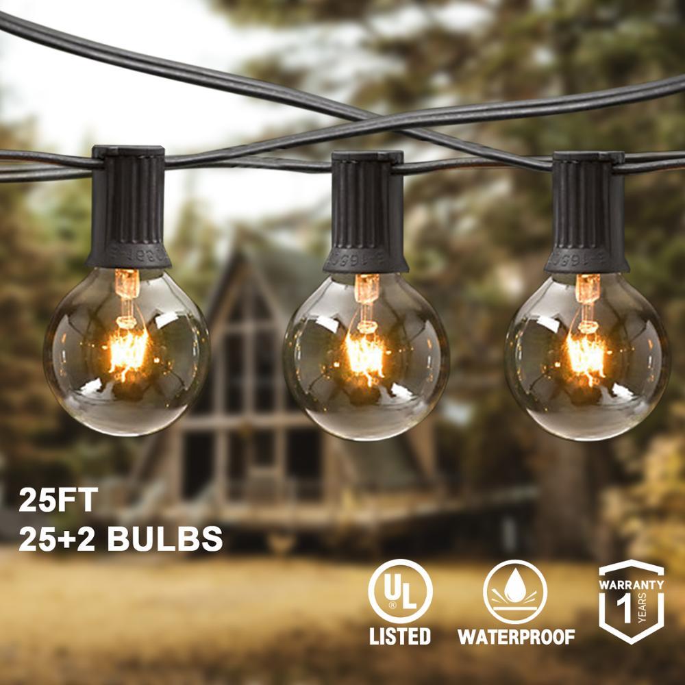 25ft  Led Wedding String Fairy Light Christmas G40 LED Globe Festoon Bulb Led Fairy String Light Outdoor Party Garden Garland