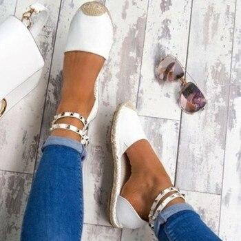 цена на Rivets Beaded Women Fashion Handmade Cotton Fabric Espadrilles Slip on Casual Canvas Loafers Ladies Flat Shoes Size SDC67