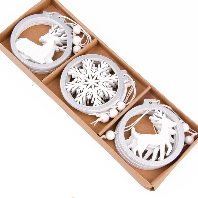 3PCS/lot Creative White Deer/Snowflake Wooden Pendants Christmas Tree Ornaments Decorations Xmas Wood Crafts Home Party Supplies 22
