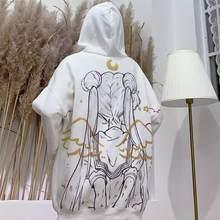 Marinheiro lua impressão dos desenhos animados hoodies com capuz manga longa outono inverno camisolas harajuku bonito kawaii topos oversize pulôver