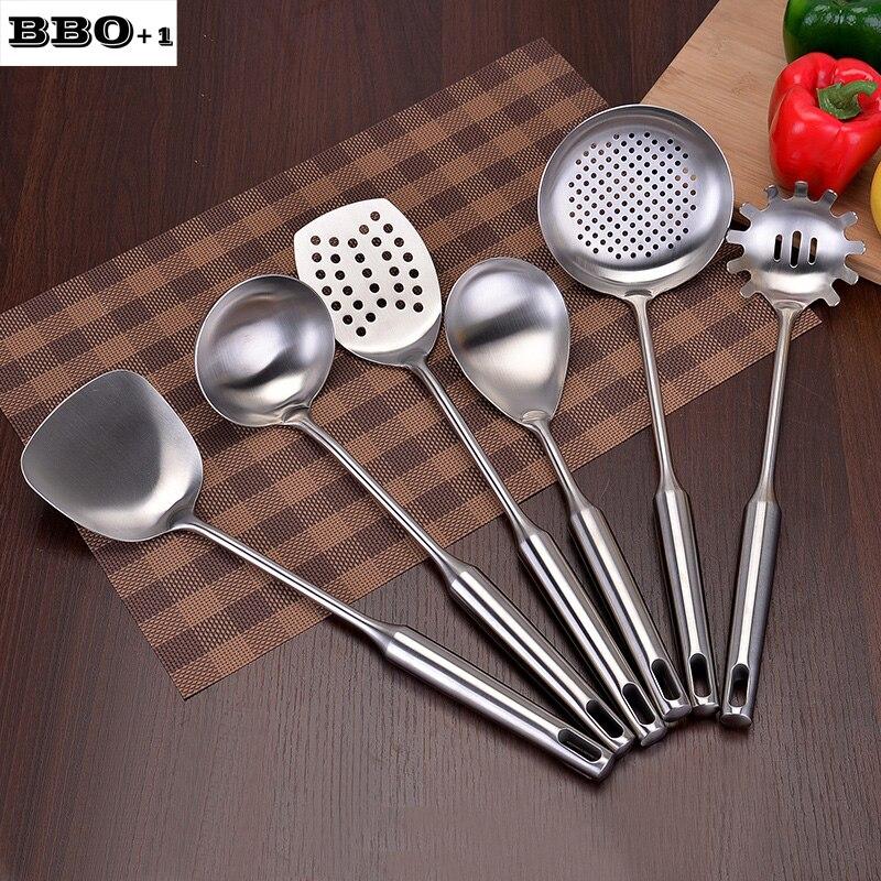 6pcs High Grade Stainless Steel Cookware set Kitchen Shovel Soup Spoon Leak Spatula Cooking Tools Kitchen Utensils Kitchenware - 2