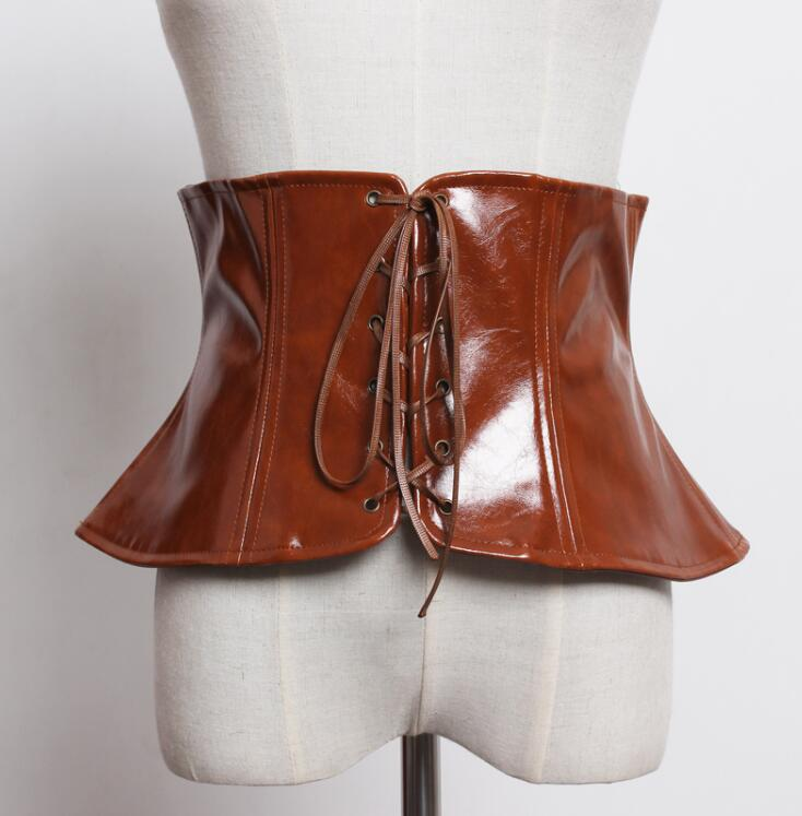 Women's Runway Fashion Patent Pu Leather Bandage Cummerbunds Female Dress Coat Corsets Waistband Belts Decoration Wide Belt 2194