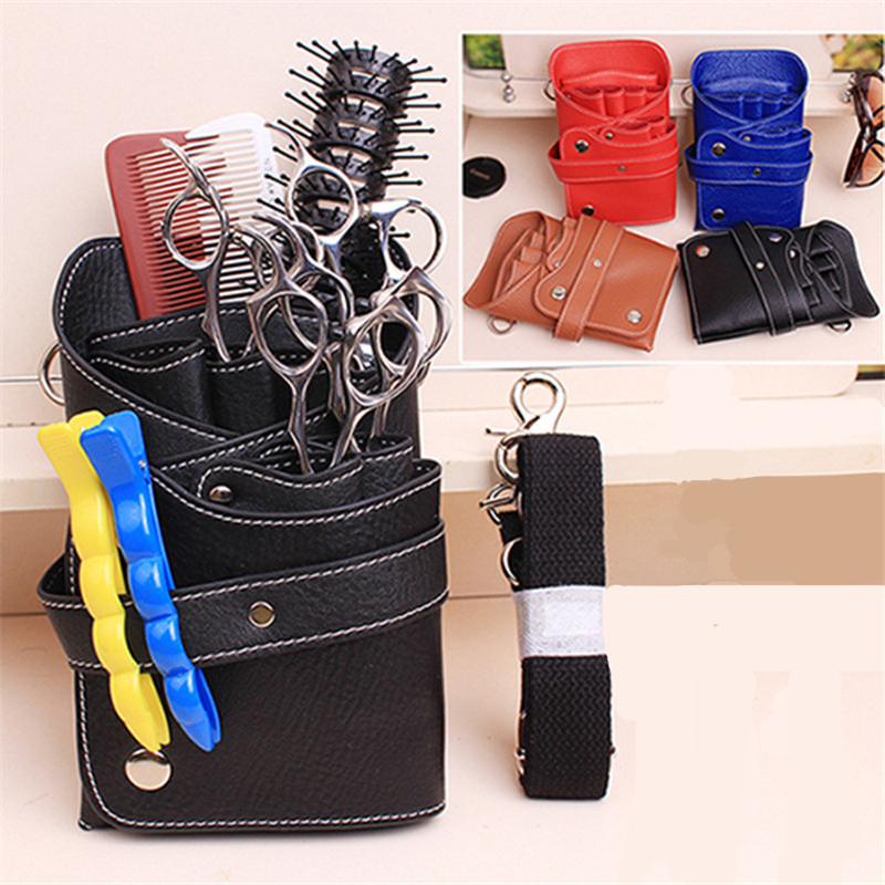 PU Leather Rivet Hair Scissor Bag Clips Bag Hairdressing Barber Scissor Holster Pouch Holder Case With Waist Shoulder Belt
