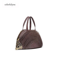 Female brand design Hedgehog Handbag Women 2019 Personality messenger Shoulder Bag solid PU Leather Large Capacity Female Totes
