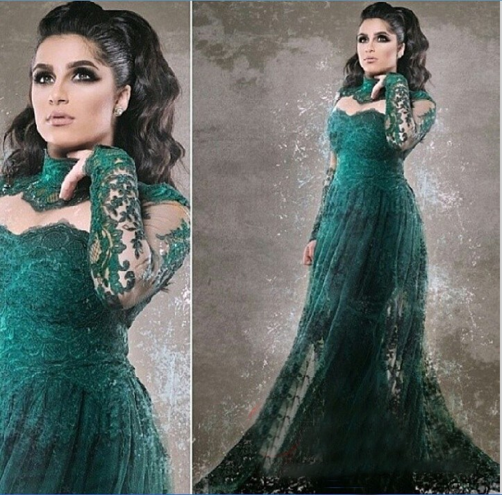 Evening Gown Robe De Soiree High Neck Lace Long Sleeve Green Transparent Sheer Prom 2016 Middle East Mother Of The Bride Dresses