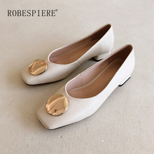 ROBESPIERE Hot Sale Square Toe Shallow Pumps Woman Soft Genuine Leather Low Heels Shoes Female Metal Decoration Casual A28