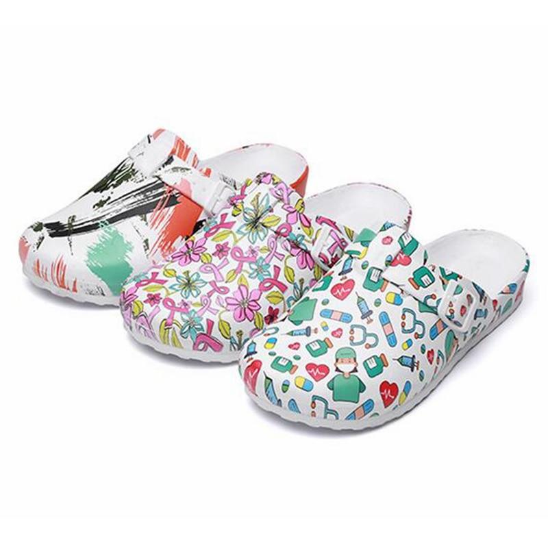 Medical Work Slippers Hospital Laboratory Doctor Nurse Non-slip Creative Cartoon Printed EVA Material Breathable Soft Shoes